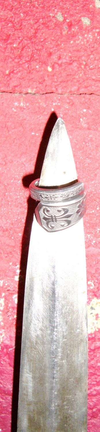 """Stainless Steel Spoon/Fork Ring (Coiled), """"Flower De Lis"""" Pattern (cause there's flowers and Fleur De Lis), Hypoallergenic, Earth Friendly by TrashToTrends on Etsy"""