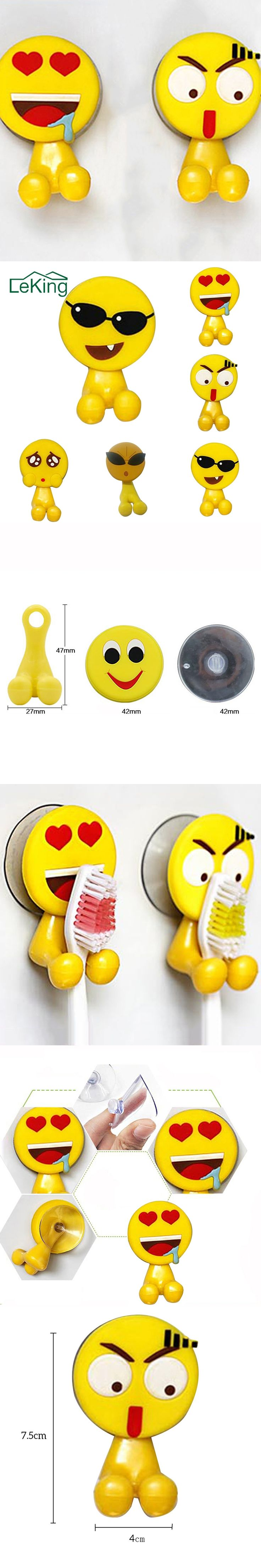 Cute Expression Toothbrush Wall Suction Bathroom Sets Cartoon Er Holder 5 Styles Kitchen Accessories