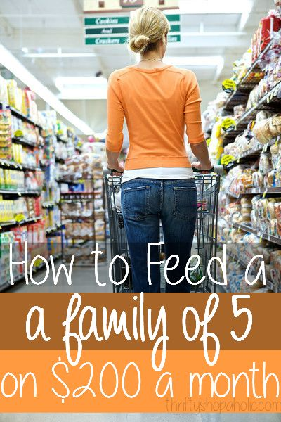 How To Feed A Family of 5 For $200 a Month!  YES, it can be done! Learn these tips and tricks to saving money at the grocery store!