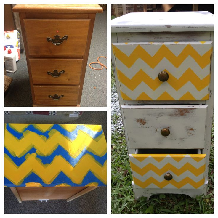 My dad's old night stand turned into a shabby chic one that is going in my college apartment bedroom! Flat white spray paint, sander, and matte finish spray. Add a print to the drawers to add some extra preppy!