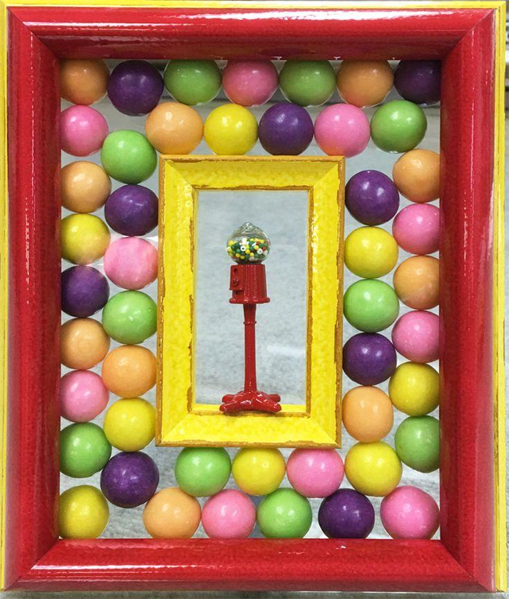 Belmar Frame & Art-Conversation Piece, Gum Ball, Diorama, Real Gum Balls, SHIPS FREE, Tiny Red Gum Ball Machine, Tiny Yellow Frame, Framed Table Piece, Fun by JNiewaldArts on Etsy