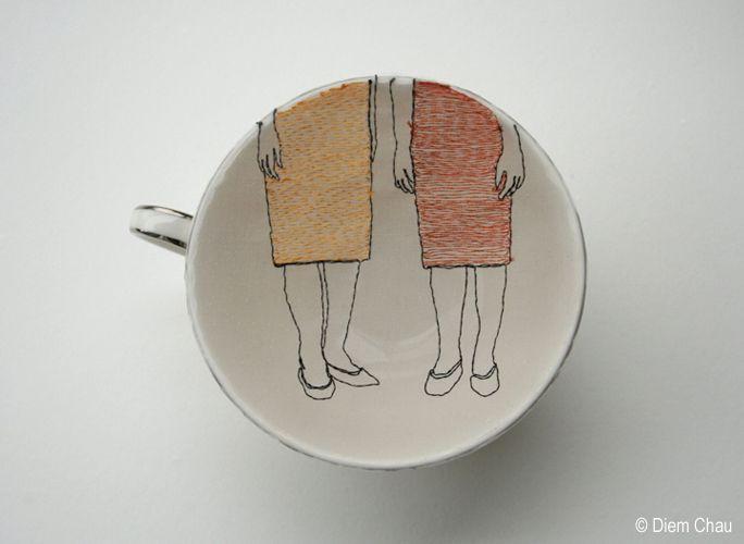 Diem Chau: Diem Chau, Diemchau Porcelaincup, Beautiful Ceramics, Chau Diemchau, Ceramic, Artist Diem, Embroidery
