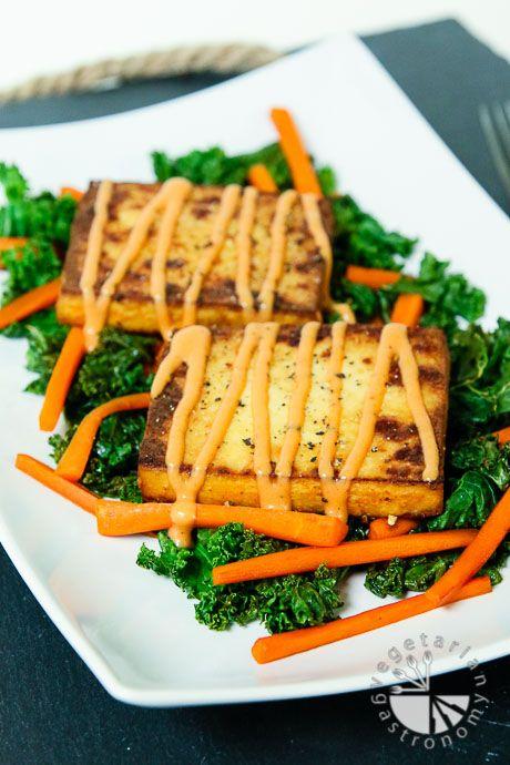 Warm Crispy Baked Tofu and Kale Salad (vegan, gluten-free) - Vegetarian Gastronomy
