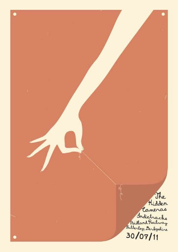 Minimal Rock Poster- Simplistic negative space illustration that draws the audience to the bottom corner to read the details of information.