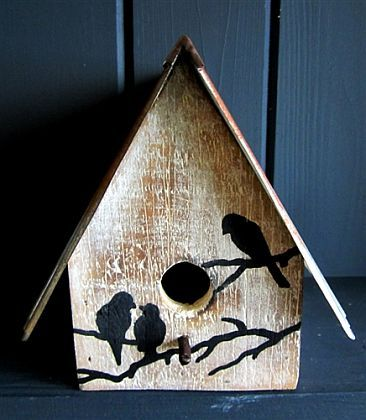 Wooden Birdhouse With Corrugated Roof