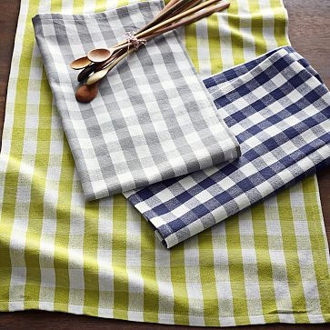 : Colors Combos, Kitchens Colors, Teas Towels, Christmas Kitchen, Bold Prints, Gingham Teas, Holidays Gifts, Bold Colors, West Elm