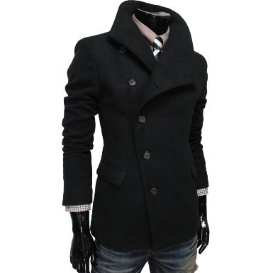 TheLees Mens Unbalance High Neck Slim PEA Coat Jacket: Clothing | See