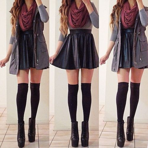 Fall outfits for teen girls with knee high socks | Circle skirt and knee high socks | Fashion ...