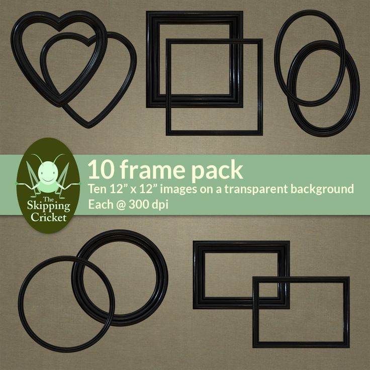 Black painted effect contemporary digital frames - digital download by theskippingcricket on Etsy