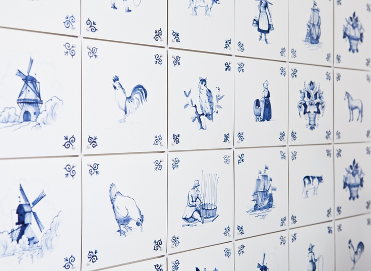 ixxi special: Royal Delft. Contemporary room divider or wallpaper from original Delftware.  #wallart #roomdivider #delftware #interior  $170.00