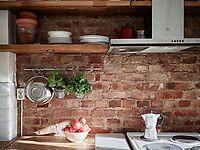 Bilder, Kök/matplats, Hylla, Klassiskt, Tegel, röd, träbänkskiva - Hemnet Inspiration