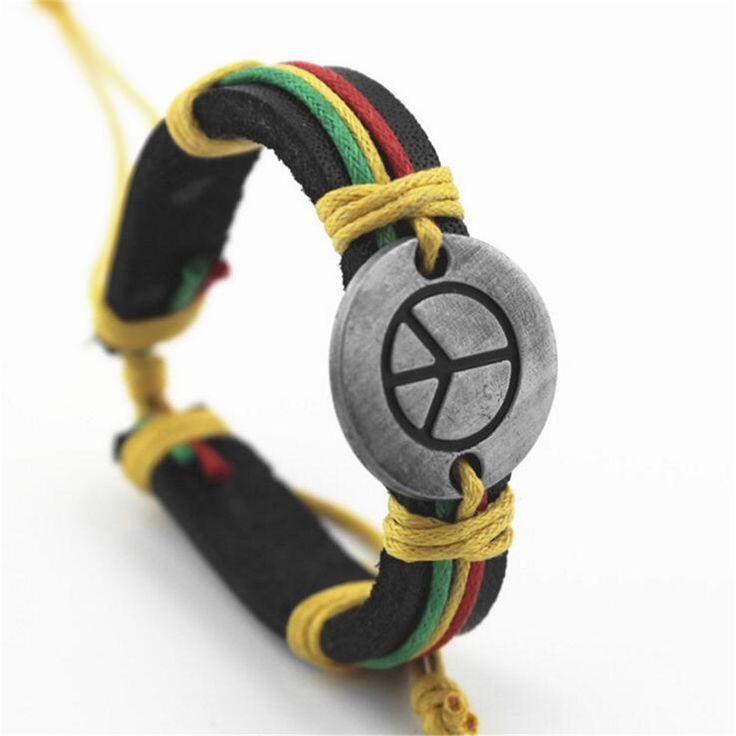 Peace Leather Bracelets Cuff Weave Wrap Leather Men Bracelets & Bangles Brand Charms for Women Men Vintage Jewelry 2016 Gifts