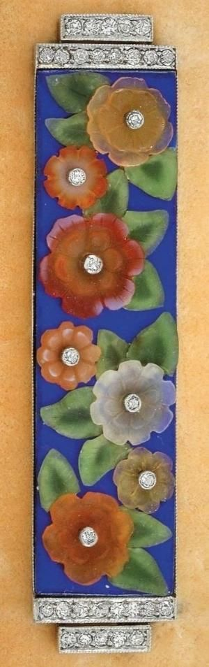 An Art Deco gold, white gold, diamond, enamel and gem-set brooch, by Ernst Paltscho. The rectangular bar brooch decorated with old-cut diamond and gemstone flowers on a blue enamel background, the plaque flanked by diamond-set terminals, mounted in gold and white gold. by hester
