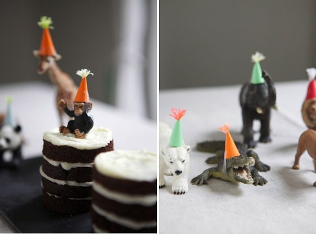 40 Wild Ideas for a Safari-Themed Party via Brit + Co. (More animals in party hats!)