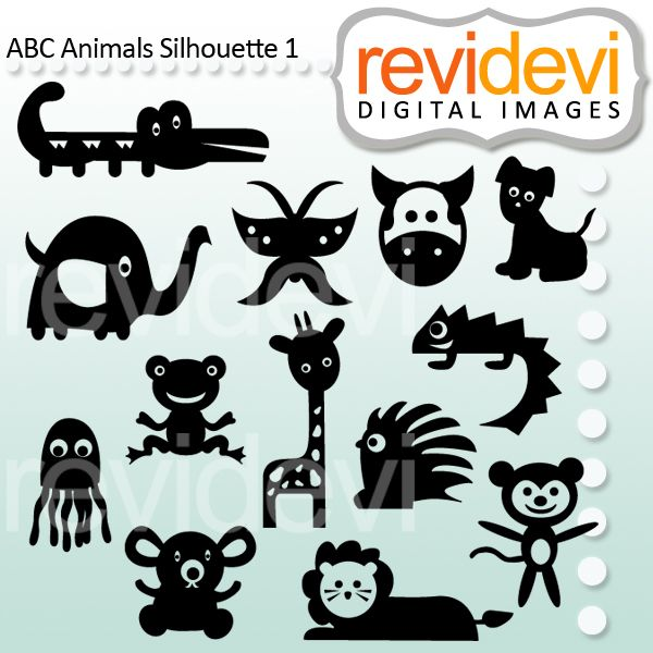 ABC Animals Silhouette Part 1 - some of your favorite animals for your next creative project.
