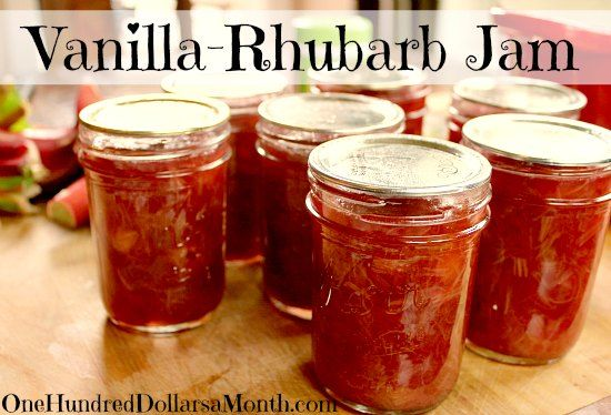 Vanilla-Rhubarb Jam- replace tea with plain water; astounding how the vanilla elevates this
