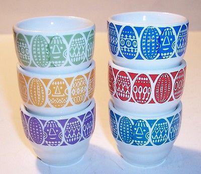 Vintage Mid Century Art Pottery Arabia Finland Kaumo Porcelain Egg Cup Set 6   eBay