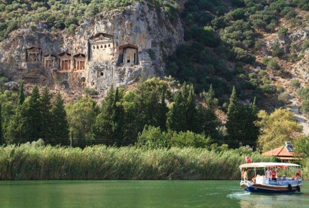 """Day 2: EKINCIK GULF - DALYAN After your breakfast, you will be informed about the cruise itinerary and the boat. The cruise will move towards Ekincik Gulf. You may join our optional Dalyan Tour from here. You will be taken from your yacht by a small boat called """"piyade""""."""