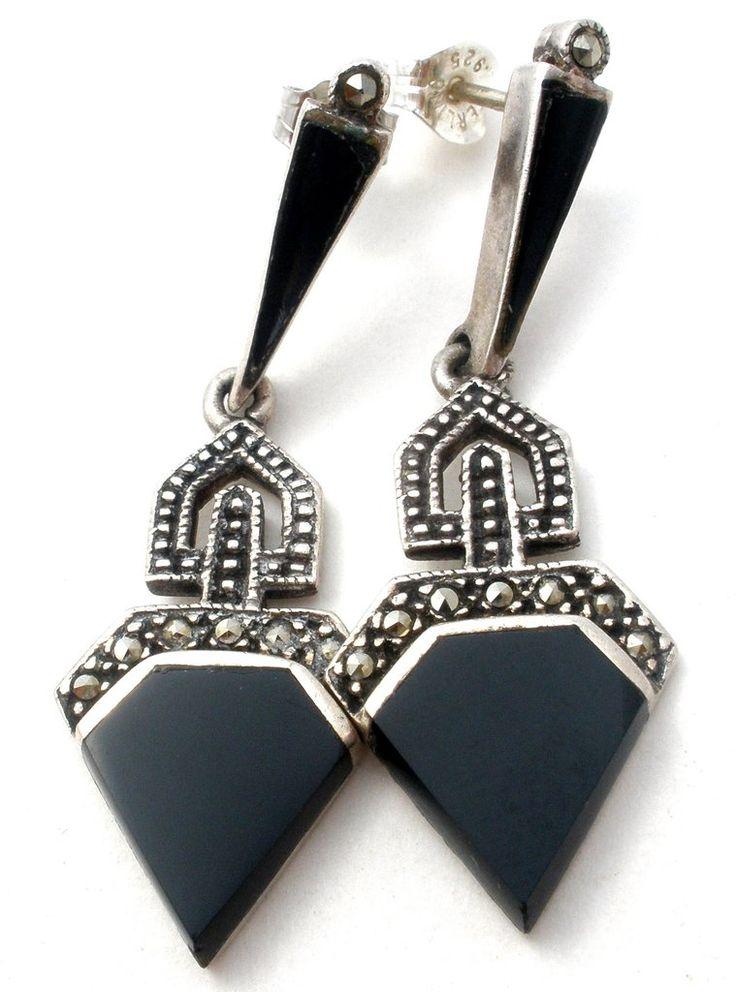 Black Onyx & Marcasite Sterling Silver Earrings