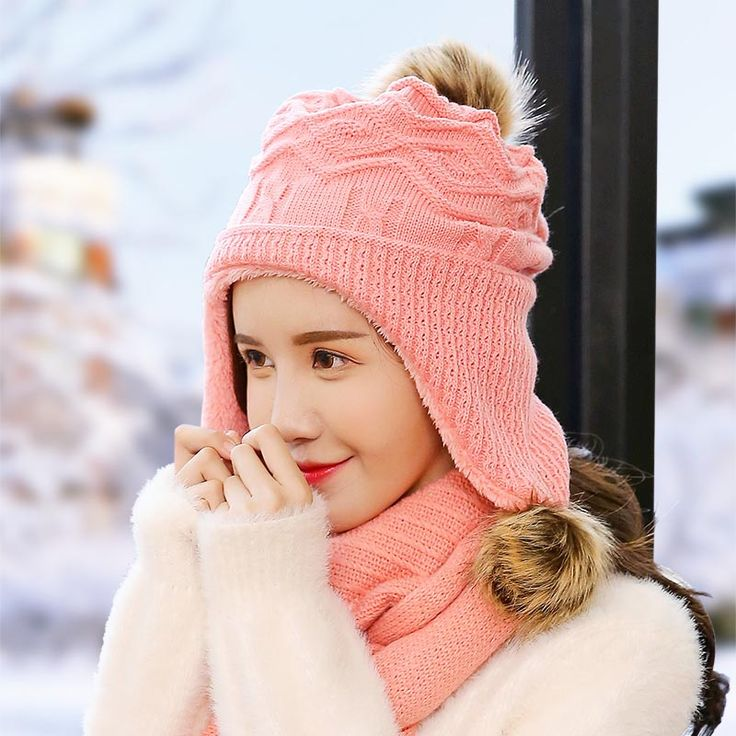 ==> [Free Shipping] Buy Best Young ear cap hat knitted hat hat winter fur ball female rabbit wool winter helmet color Online with LOWEST Price | 32817125381