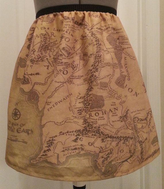 Lord of the Rings inspired skirt  map of by NerdAlertCreations, $45.00