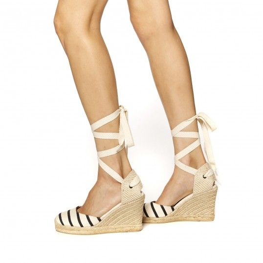 Classic Striped Canvas Espadrille Tall Wedge Sandal