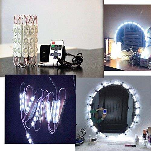 Upgraded Led Vanity Makeup Lights Kit, 60 Leds 9.8FT DIY Make-Up Mirror Light for Cosmetic Mirrors with Remote Control and Power Supply. For product & price info go to:  https://beautyworld.today/products/upgraded-led-vanity-makeup-lights-kit-60-leds-9-8ft-diy-make-up-mirror-light-for-cosmetic-mirrors-with-remote-control-and-power-supply/