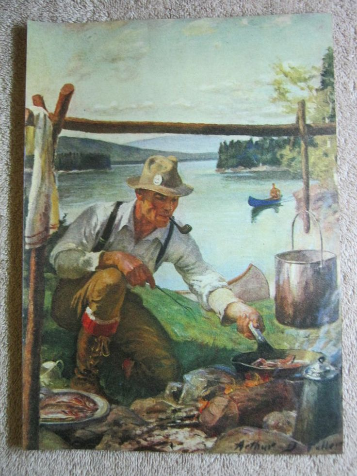 1947 Vintage Camping By Lake Fisherman Cooking Arthur D