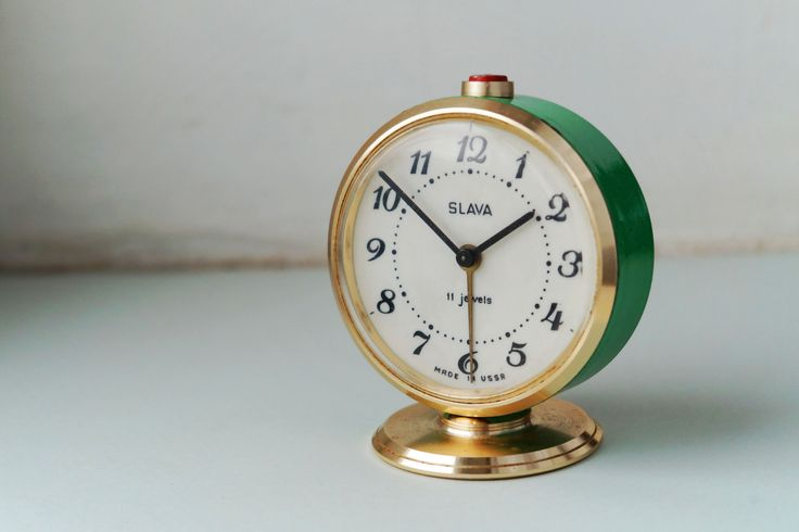 Alarm clock Vintage Green Gold Clock Slava Soviet Mechanical Desk clock Working Home decor Office decor by Retronom on Etsy