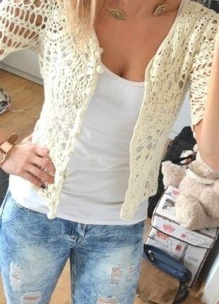 Kup mój przedmiot na #vintedpl http://www.vinted.pl/damska-odziez/bluzki-z-dlugimi-rekawami/10532282-sweterek-gipiura-haft
