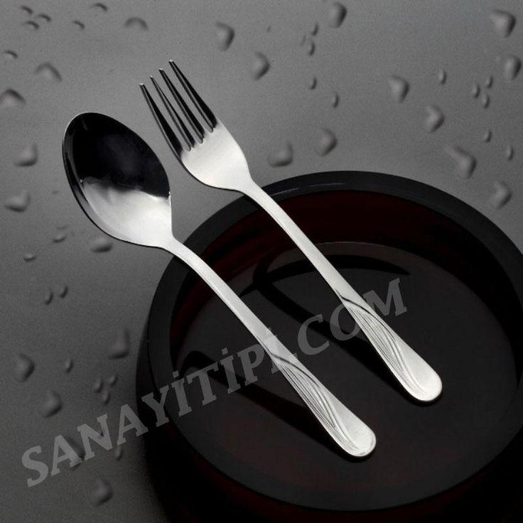 (Lokanta -Yemekhane için) 430 Kalite Çatal, Kaşık, Bıçak,Tatlı Çatal ,Tatlı Kaşık Seti » - Sanayi tipi