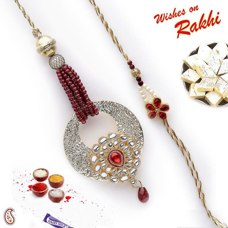 Rich stone work and metal Bhaiya Bhabhi #Rakhi Set with kundans, #RakhiGifts #Gifts #RakhitoIndia #onlinerakhi