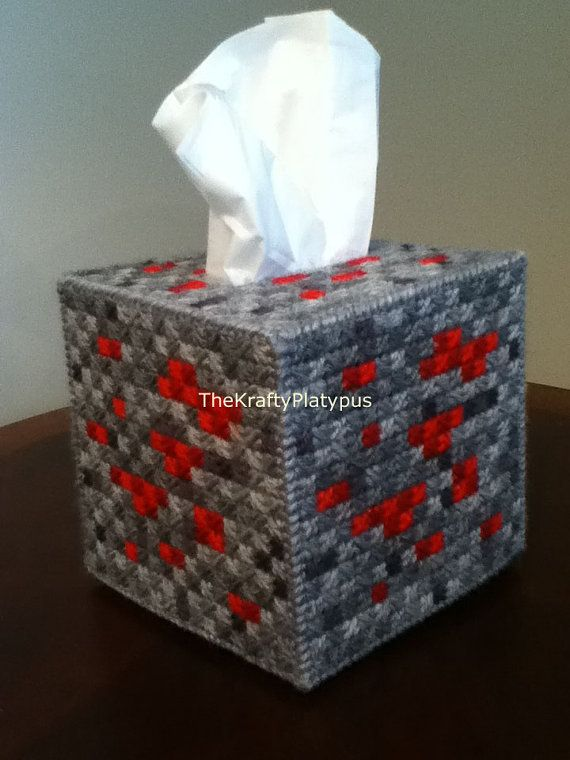This is a custom handmade tissue box cover.  This is an original design inspired by the Redstone blocks of a popular computer game.