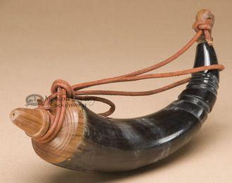 "Genuine Powder Horn with Strap 11"""" (ph4)"