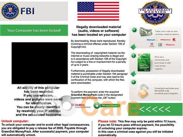 FBI ANTIPIRACY WARNING virus is a brand new scam that's been spreading around the Web recently under the name of The FBI Federal Bureau Investigation.