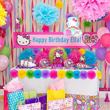 Welcome all to the party with a custom banner! Add to your Hello Kitty backdrop by hanging pink, purple & blue streamers. Cute!