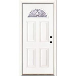 Feather River Doors 37 5 In X 81 625 In Medina Zinc Fan Lite Unfinished Smooth Left Hand Inswing Fiberglass Prehung Front Door