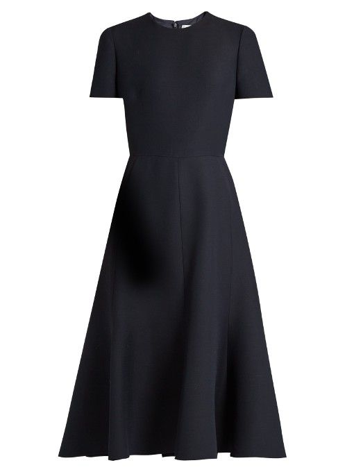 Valentino Fluted wool and silk-blend crepe midi dress