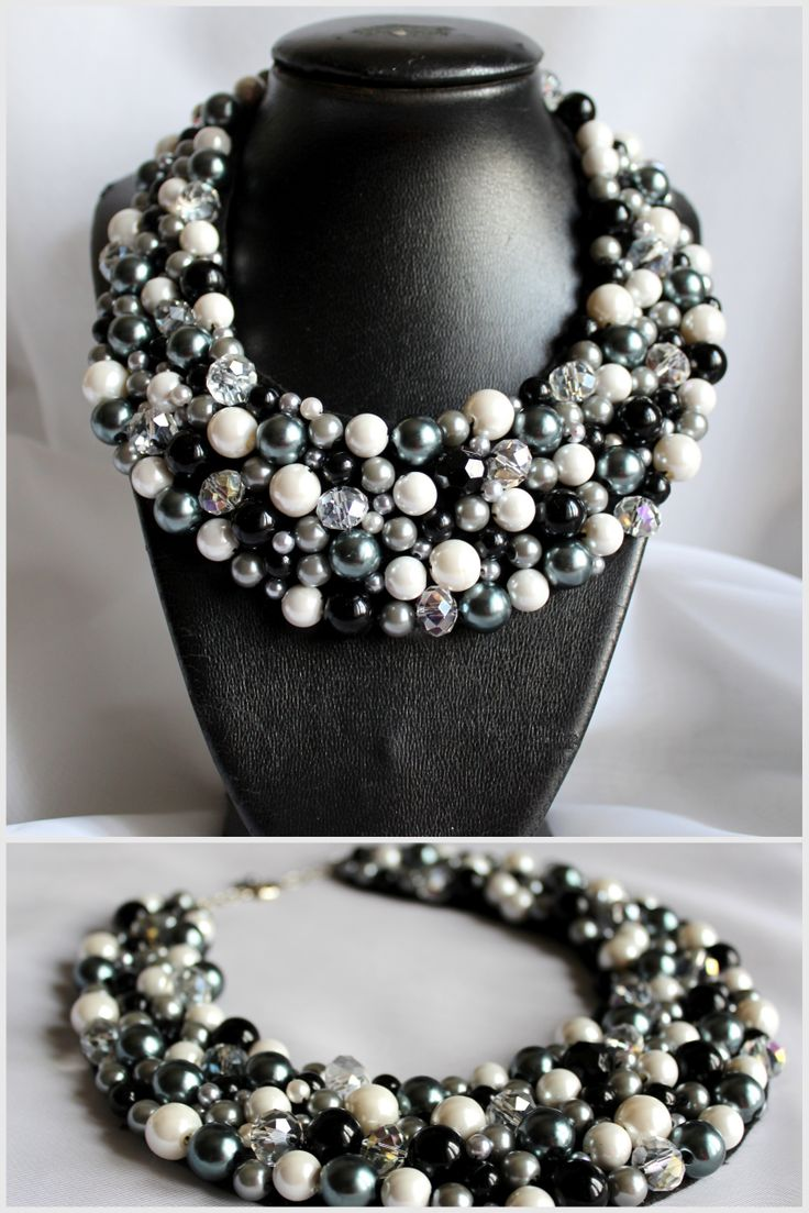 Model B57 #Collar necklace #beaded jewelry #oversized necklace #grey #white  #crystal