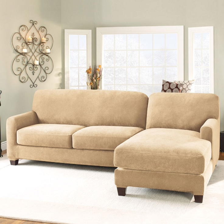$195.99 Surefit Stretch Pique Right Side Chaise Slipcover In Cream - Beyond the Rack : sectional slipcovers with chaise - Sectionals, Sofas & Couches