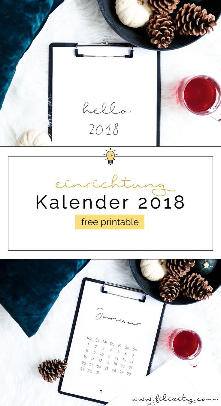 Für mehr Plan: Minimalistischer Kalender für 2018. Mit der kostenlosen Druckvorlage schaffst du im Handumdrehen stylische Akzente an deinem Arbeitsplatz.