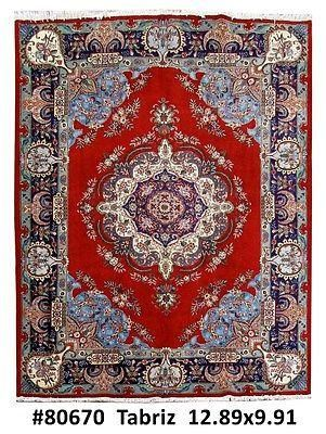 Handmade Rug X Persian Tabriz Carpet Design Pattern Pile Wool Warp Weft Cotton Age Woven Hand Knotted Condition Pre Owned Excellent Size Ft
