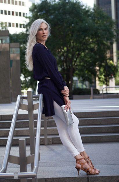 Roxanne Gould Long Gray Hair Ageless Beauty Fashion Over 50