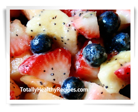 Poppy Seed Fruit Salad with Honey Cinnamon Drizzle
