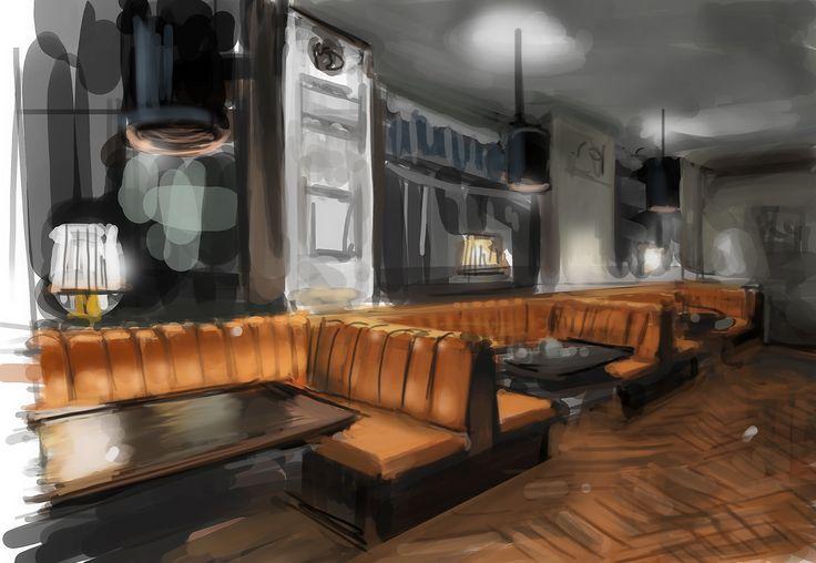Bar innenarchitektur zeichnung perspektive for Innenarchitektur stellen