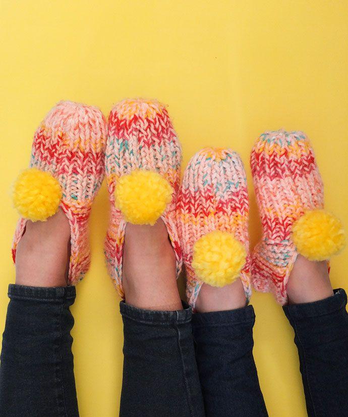 Knitted Pom Pom Slippers