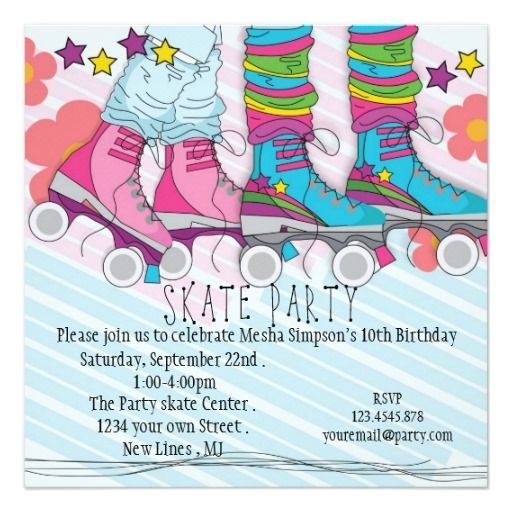 The 336 best roller skating birthday theme images on pinterest fun girls roller skating birthday party invitation stopboris Gallery