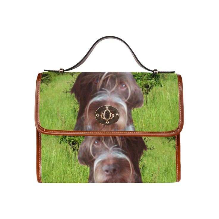 Dog and Flowers Waterproof Canvas Bag/All Over Print (Model 1641)