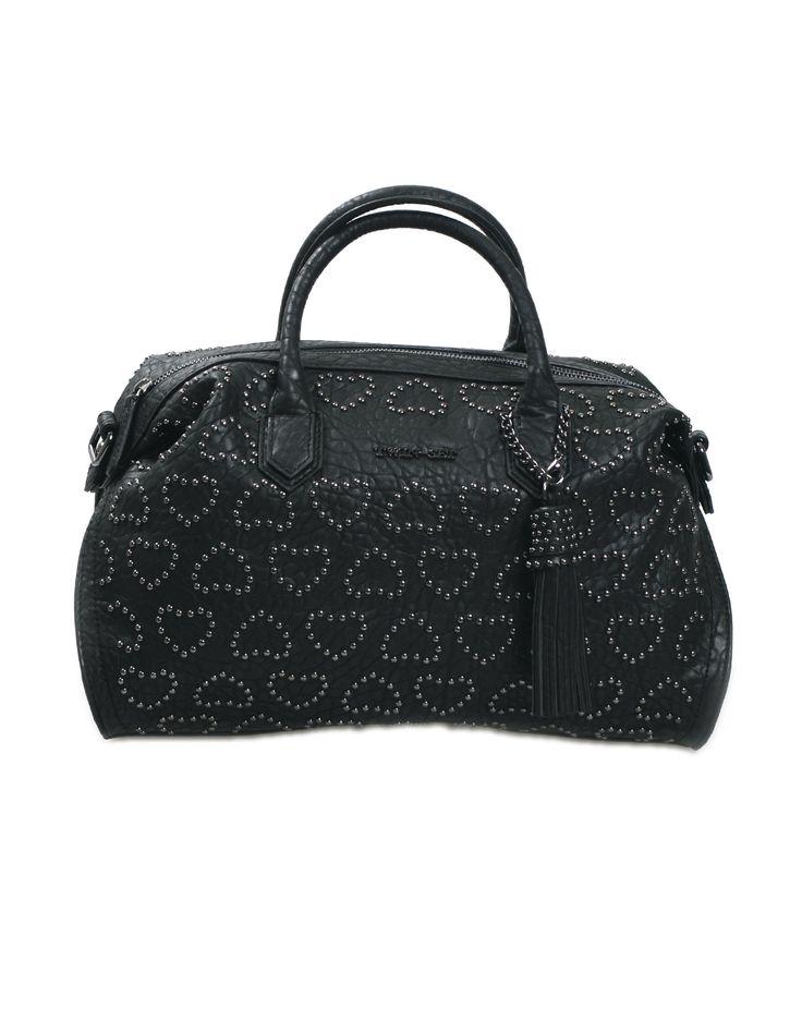 Bauletto TWIN SET by SIMONA BARBIERI in ecopelle e rivetti colore nero, chiusura a zip, interno foderato con logo e tasca a zip, tracolla regolabile e removibile, manici.