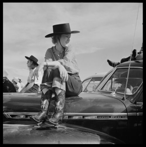 "Rodeo Cowgirl Photo 10""x10"" 1941 Chevrolet Special Deluxe 1942 Photo Vintage 
